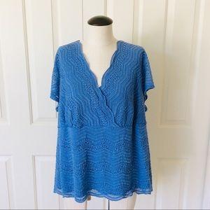 Lane Bryant 18 /20 Blue Open Knit Plus Size Top